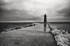 Manistique East Breakwater Lighthouse II (lfviolin) Tags: blackwhite bw nikon d90 tokina lighthouse manistique longexposure