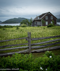House By The Sea (maureen.elliott) Tags: scenery house quebec bicpark old architecture views stlawrenceestuary rural ocean sea fence parcnationaldubic parcsqubec