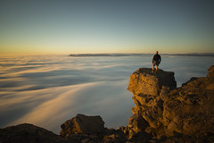 High above clouds (Benedikt Halfdanarson) Tags: bolafjall bolungarvk sland iceland mountains icelandicmountains sunset slsetur slarlag midnightsun clouds movingclouds sunsetiniceland
