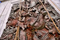 Buddist Epic (thechrisdavis) Tags: canon eos 5d 5dmk3 thailand honeymoon templeofthegoldenbuddha ramayana whitemonkey warelephant elephant wattraimit wat