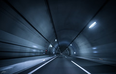 Hyperdrive (ScottSimPhotography) Tags: tunnel driving japan japanese road long perspective vanishingpoint disappear drive car streak lights dark endless blue hyperdrive warp travel
