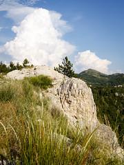Mountainous area at the border of Bosnia and Montenegro (georgemoga) Tags: bosnia clouds grass montenegro mountain rocks sky tree klobuk republikasrpska bosniaandherzegovina ba