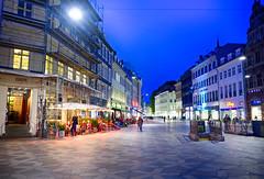 Blue Hour in Copenhagen, Denmark (` Toshio ') Tags: toshio denmark copenhagen europe european europeanunion shops stores architecture street people danish cph fujixe2 xe2 scaffolding