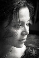 Contemplacin (OneMarie!) Tags: retrato perfil profile portrait girl woman mujer rostro face mirada eyes bn bw blancoynegro blackandwhite nikon d7100 lace vieta luces sombras