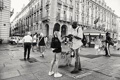 Sell (lanevegianluca) Tags: biancoenero people sony a6000 blackandwhite italia torino piazza square