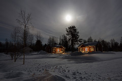 66-Moonlight_Cottages12 copy (Beverly Houwing) Tags: snow building night forest suomi finland frozen cloudy halo fullmoon lapland moonlight kukkola bungalow kukkolankoski