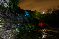 Albion with some Colour (awaketoadream) Tags: light ontario canada color colour water night river dark painting flow evening waterfall long exposure colours angle low hamilton wide illumination niagara falls albion escarpment