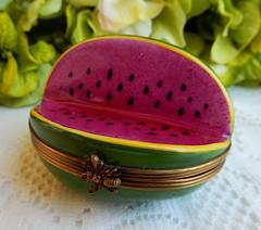 Limoges France Peint Main Porcelain Trinket Box ~ Watermelon ~ Artist Signed (Donna's Collectables) Tags: limoges france peint main porcelain trinket box ~ watermelon artist signed