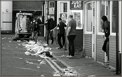 Aftermath (* RICHARD M (Over 5 million views)) Tags: street candid mono blackwhite rubbish trash litter garbage refuse clean rubbishclearing cleaningup clearingup brushingup yuk ugh cleanup thetwelfth 12thjuly orangemensday cablestreetsouthport waste streetcleaning roadcleaning streetcleaningmachine roadcleaningmachine vehicles electricvehicles plastic southport sefton merseyside culdesac deadend shambles disgrace muck mess publicdisgrace affront effrontery