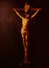 Pinned on the Notice Board (Steve Taylor (Photography)) Tags: red brown man art dutch painting cross notice jesus bleeding rembrandt crucified christonthecross
