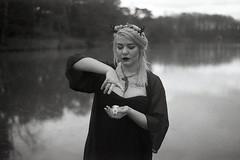 film (La fille renne) Tags: portrait blackandwhite woman lake film nature monochrome analog 35mm skull model kodak witch magic expired expiredfilm 50mmf17 kodaktrixpan minoltasrt303b lafillerenne delilahdahmer