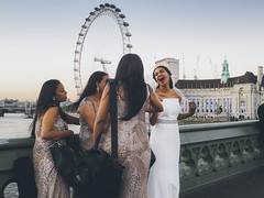 Bride on Westminster Bridge -- Olympus Pen-F Panasonic Leica 15mm (Col Jung) Tags: women bride wedding beautiful outdoor westminster westminsterbridge street streetphotography colorstreet olympus penf panasonicleica 15mm panasonic leica bridge sunset londoneye light gorgeous