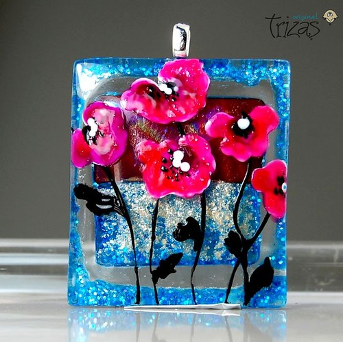 TRIZAS-ORIGINAL glass lampwork fused Pendant - Poppies -TOC0239
