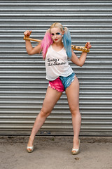 Baseball - Suicide Squad Style (shadowimagephotography) Tags: harlequin suicide squad model pose pink hair blue