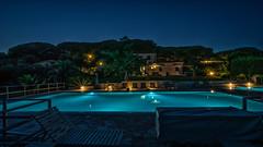 Swimming Pool at night - Isle of Elba (lichtspur) Tags: swimmingpool pool night lowlight light licht dunkel abend mood colours wideangle elba toscana toskany italy italien italia