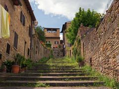 San Gimignano, Toscana (derhalbling) Tags: sangimignano toscana italy italien sommer summer toskana stadt city medieval mittelalterlich sun sonne sonnig treppe stairs green grn