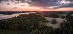 Aerial Landscape (arska-76) Tags: dji landscape finland tree forest lake phantom3 sunset clouds aerial sky sun