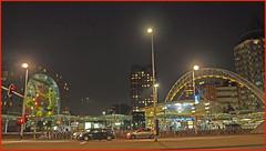 Back to Blaak (abriwin) Tags: rotterdam nl blaak night metro tram rail markthal