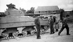Sherman Firefly captured by the Germans at Villers-Bocage, France, June 1944.