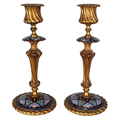 Pair of Champleve Style Candlesticks (thehighboy) Tags: lighting miami antiques collectibles candlesticks highboy candelabras champlevestyle