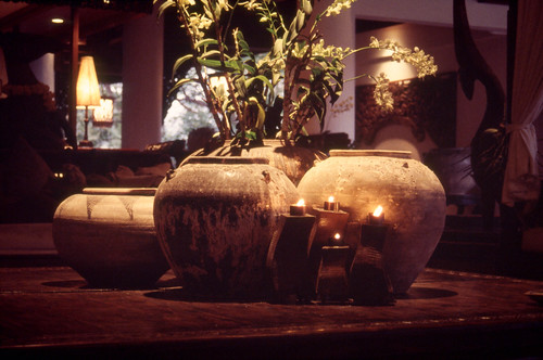 Reception: candles and flowerpots