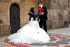 "neat touches before saying ""I do"" !!! (Elahe Dastgheib) Tags: wedding white clock rose groom bride petals dress prague astronomical elahe"