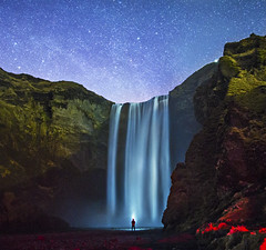 Skogafoss (Alex Tudorica) Tags: skogafoss iceland mountains waterfall night starts stars long exposure moonscape moon alone canon 6d samyang 24 mm brilliant