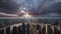 God Ray (blackstation) Tags: ray cloud skyline sunlight cityscape the oriental pearl tower