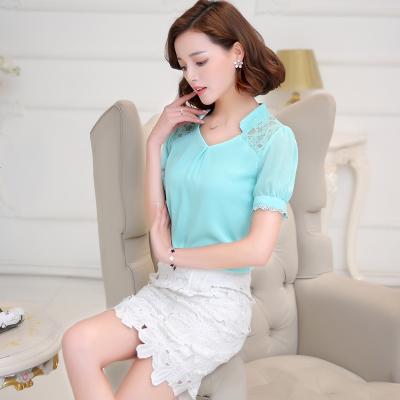 Summer 2016 new Korean women's plus size chiffon loose shirt short sleeve women's t shirts short summer dress