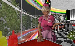 working at the diner ... (Adriane Munro) Tags: secondlife diner girl waitress cute