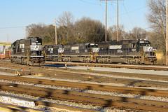 Re-Upload: SD60 Party (weshendrix) Tags: norfolk southern macon district georgia ga brosnan yard train railfan railroad freight rr emd sd60 sd402 standard cab diesel engine locomotive outdoor rock