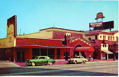 The Brown Derby Restaurant (jericl cat) Tags: vine street hollywood 1929 brown derby restaurant postcard highres history neon sign coffeeshop entrance rooftop scaffold bamboo room western air lines airline spanish architecture lost demolished past