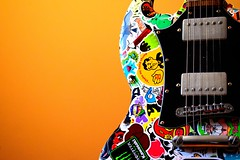 Stickerbomb Guitar (__tommy.96__) Tags: guitar music stickerbomb amateur colorful orange sticker nikon first pic selfmade
