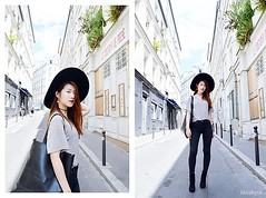 Revival Ying Ying .., Student.  Paris., France (9lookbook.com) Tags: asian beret check fashion ootd paris plaid preppy red rouge valentinesday