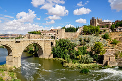 Toledo, Spain (yonca60) Tags: toledo spain bridge oldbridge landscape oldtown oldcity houses casas river water sky clouds