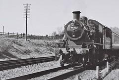 46521 Ivatt class 2, Quorn & Woodhouse, 18th April 2015 (OG47) Tags: film train blackwhite br engine steam locomotive steamengine 260 greatcentralrailway gcr pentaxsupera uksteam 46521 quornwoodhouse ivattclass2