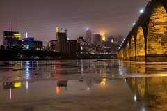 Foggy River M3sb (Greg Riekens) Tags: city bridge usa water minnesota fog skyline night river mississippi lights nikon downtown foggy minneapolis mississippiriver stonearchbridge flickrelite d7000