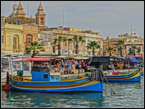 Marsaxlok Market With Luzza Fishing Boats