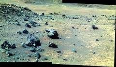 Rocks on a Hill near Endeavour Crater (sjrankin) Tags: 15july2016 edited nasa mars opportunity endeavourcrater colorized rocks panorama bands257 rgb