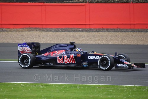 Sérgio Sette Camara driving for Toro Rosso in Formula One In Season Testing at Silverstone, July 2016