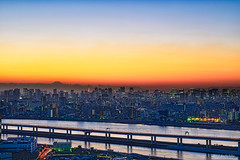 Tokyo Megacity night (koshichiba) Tags: tokyo city sunset night nightshot landscape nightscape nightview mtfuji tower urban dust sumida river