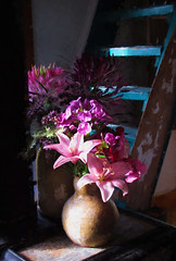 Bouquets II (Maine Islander) Tags: bouquet woodstove stovepipe lilies cleome oar stairs ladder hss