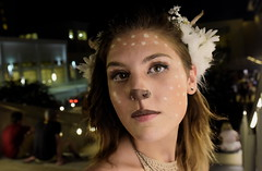 Faun (skippyclese) Tags: light people woman anime night stairs dark found outside outdoors necklace nc eyes paint dusk ambientlight north horns raleigh bodypaint spots convention carolina ambient crown facepaint halter con faun animazement 2016 lightbar
