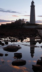Rocks and Rockpool Reflections - St. Mary's Island (Gilli8888) Tags: whitleybay sunrise lighthouse stmaryslighthouse tyneandwear dawn clouds sky light batesisland coast eastcoast northsea coastline seascape silhouette rocks rockpool