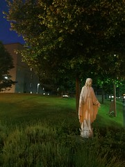 The Virgin Mary at St. Vincent's Hospital (rwakefielddrohan) Tags: nature statue night hospital outdoors religion catholicism virginmary