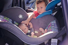 Brother and sister car seats (Scott SM) Tags: old 2 two baby car one 1 big toddler ride little sister brother seat pat year first carseat 25 newborn month