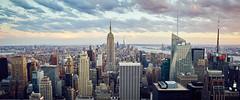 New York City Skyline from Rockefeller Center (Todd Plunkett) Tags: empire building empirestatebuilding oneworldtradecenter city rockefellercenter topoftherock sunset evening river urban cityscape cloud sonya7 minolta 24mm rokkor