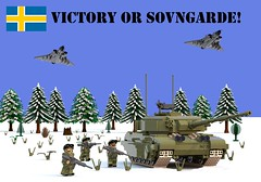 Victory or Sovngarde! (Matthew McCall) Tags: lego sweden swedish nordic union tank military army jet fighter saab draken soldier infantry snow moc centurion