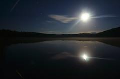 Moonlight and a Shooting Star (FiddleHiker) Tags: moonlight reflection reflectedlight shootingstar nightphoto lake landscape longexposure nature forest meteorshower cloud water lasallelake lasallelakestaterecreationarea minnesota summer symmetry fv10
