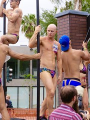 IMG_6234 (danimaniacs) Tags: losangeles westhollywood gay pride parade hot sexy man guy stud shirtless bikini speedo swimsuit trunks pole dance bald armpit tattoo